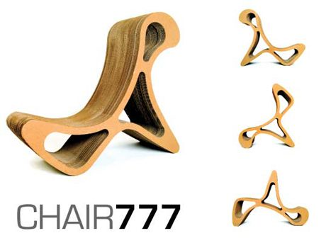 Chair 777 is a concept by German based design group Die Fabrik. The chair is organic in design and can be rotated into three different positions, depending on the mood of the user ? a lounge chair, stool and regular upright chair.