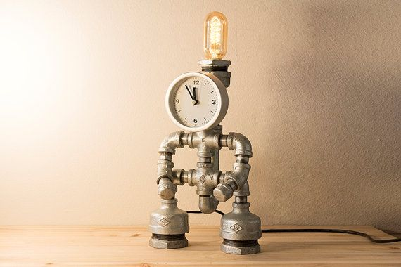 Check out this item in my Etsy shop https://www.etsy.com/listing/229262882/pipestory-clock-pipe-lamp-iron-pipe-lamp