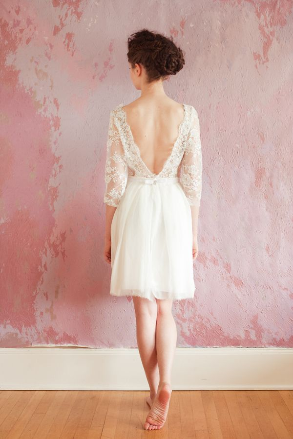 Sarah Seven dress...love the plunging back!Wedding Dressses, Sarah Seven, Receptions Dresses, 2013 Bridal, Dinner Dresses, Shorts Wedding Dresses, Shorts Dresses, 2013 Collection, Lace Dresses