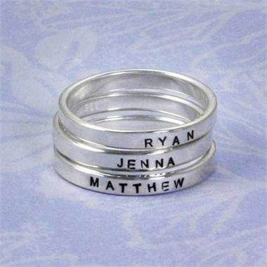 Kids' names stackable bands - BIG HINT to the hubby/kiddos =)!!!!