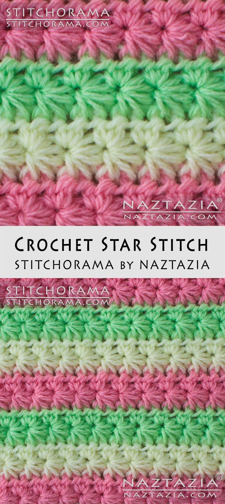 Crochet Star Stitch - Stitchorama by Naztazia Free Pattern & DIY Tutorial YouTube Video by Donna Wolfe
