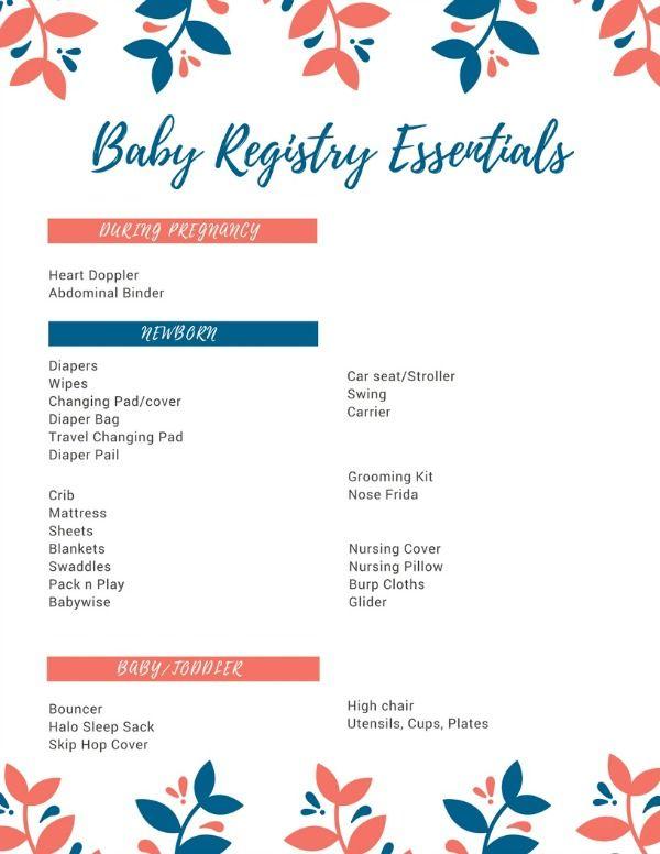 printable baby registry checklist xv-gimnazija