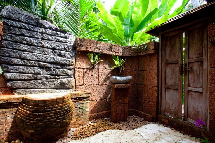 outdoor tropical bath at Villa Kalyana, luxury beach front villa with pool in Koh Samui, #Thailand. Sleeps 18