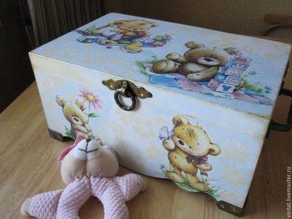 """Детская ручной работы. Ярмарка Мастеров - ручная работа. Купить Короб-сундук для игрушек  """"Мой Медвежонок.."""". Handmade. Шкатулка"""