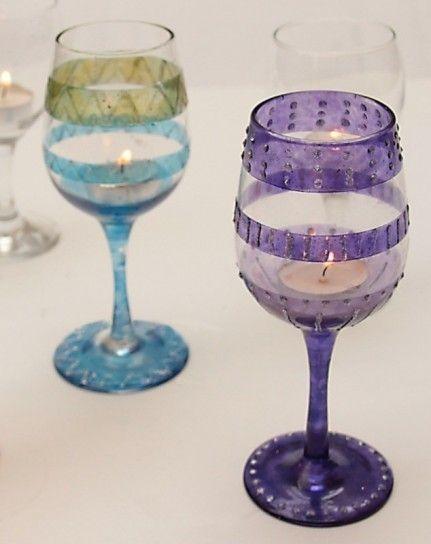 Bicchiere decorato a strisce