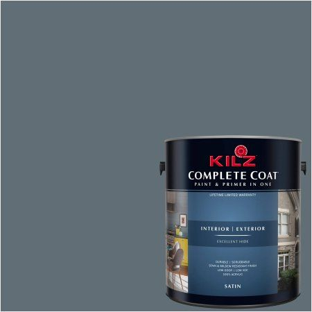 Kilz Complete Coat Interior Exterior Paint Primer In One Rm130 Deep Charcoal 1 Gal Flat Black