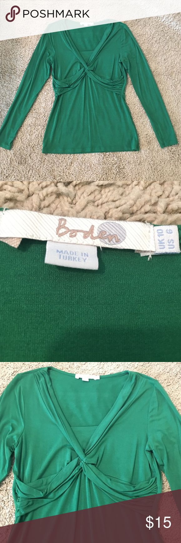 Boden long sleeve green top 6 Boden green long sleeve top. Size 6. Good condition. Boden Tops