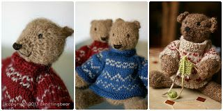 Knitted bears in sweaters (free ravelry pattern: http://www.ravelry.com/patterns/library/pattoz-the-knitted-bear) by a knitting bear...