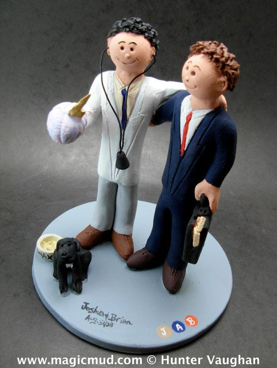 Gay Wedding Figurine    Gay Men's Wedding Cake Topper custom created for you!     $235   #magicmud   1 800 231 9814   www.magicmud.com