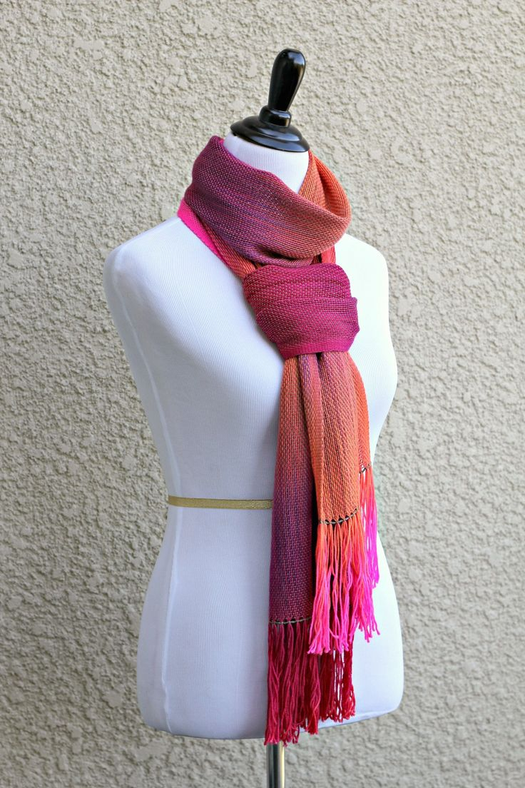 "Hand woven scarf, pashmina in neon pink, orange, fuchsia and purple colors. Perfect #gift for her! This woven scarf is very soft and drapes nicely! Measures:L: 78"" with 6"" f... #kgthreads #accessories #cozy #fall #fashion #gradient #unisex #women #wrap"