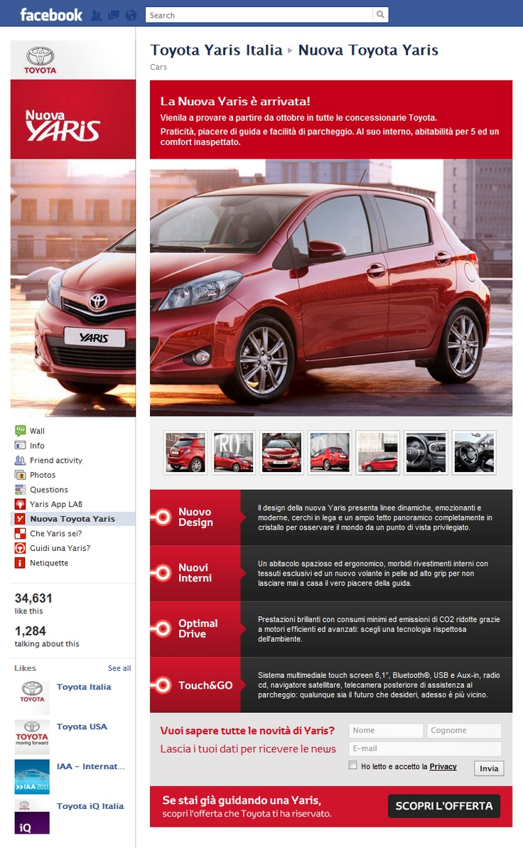Tab Facebook: Toyota Yaris Italia