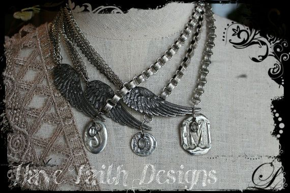 Custom Initial wing necklace by HaveFaithDesigns on Etsy