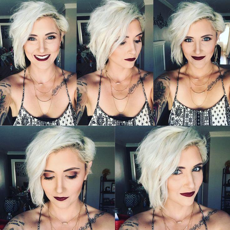 Platinum blonde pixie short Pixie blonde pixie younique makeup rayahope raya coleman statement earrings fall makeup dark lip