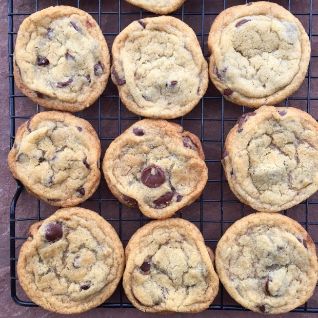 "I've tried many vegan chocolate chip cookie recipes over the years, looking for one that gives me that ""sunken"" look and chewy feel. This is it! Not puffy. Not cakey. Not too crispy. They are perfectly chewy and they sink in seconds after removing from the oven so that the chocolate chips rise like little mountains. The best! — SnarkyVegan"