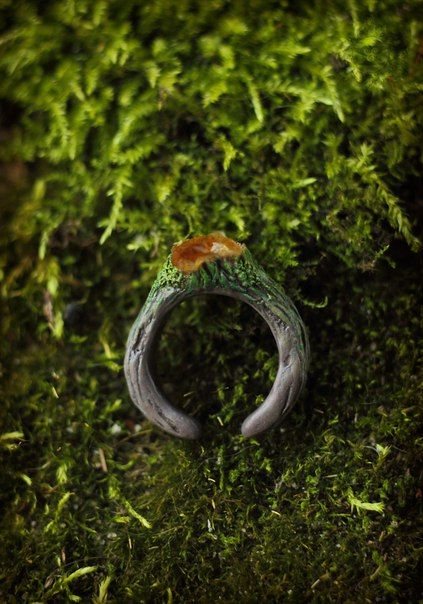 Polymer Moss and wood  ring
