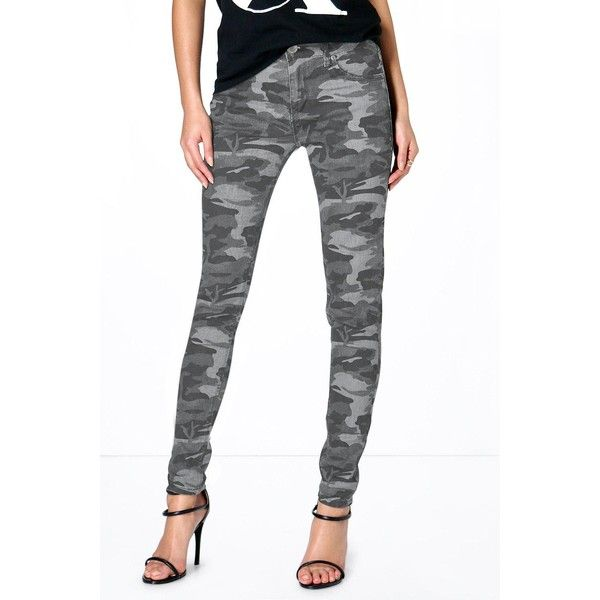 Boohoo Blue Anee Camouflage Print Skinny Jeans ($44) ❤ liked on Polyvore featuring women's fashion, jeans, grey, boyfriend jeans, grey skinny jeans, ripped boyfriend jeans, slim straight jeans and skinny jeans