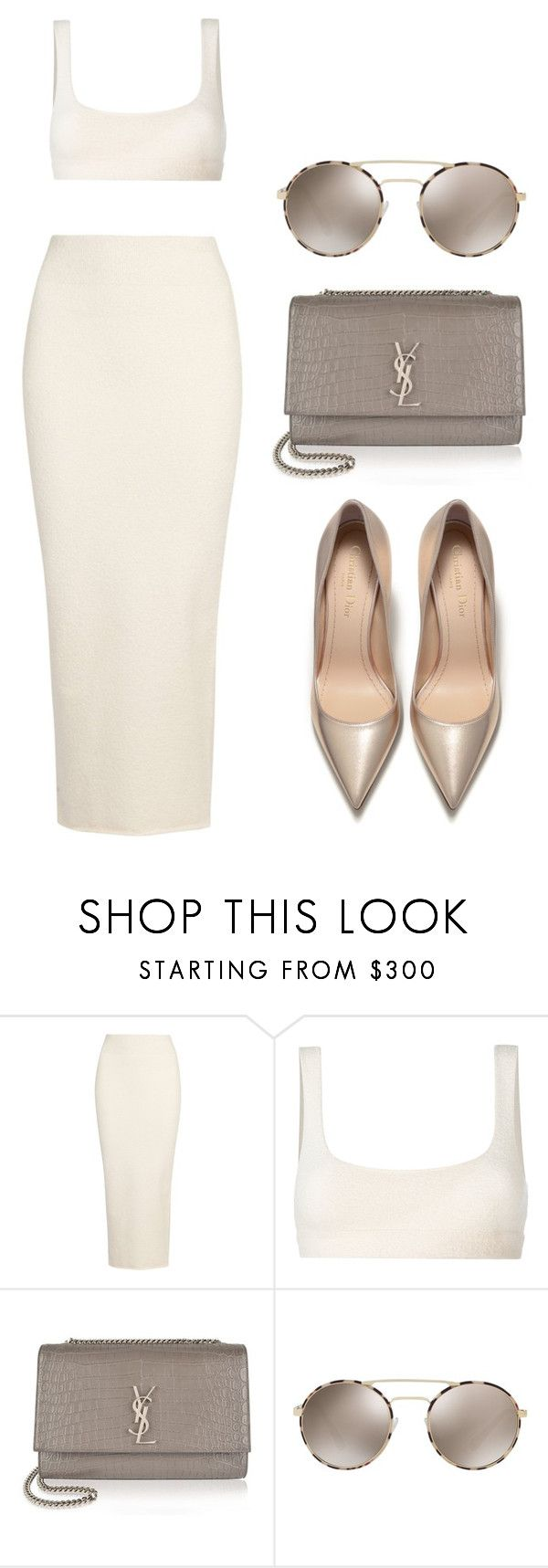 Beige by ale-pink5 on Polyvore featuring moda, Yeezy by Kanye West, Yves Saint Laurent and Prada