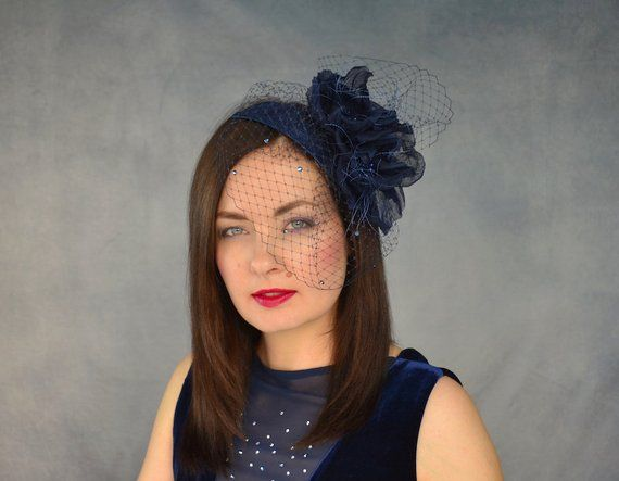 aeb30c2658b61 Navy Blue Fascinator with Birdcage Veil and Silk Flowers - Navy Fascinator  Hat - Mother of the Groom - Navy Fascinator with Birdcage Veil   rubinamillinery ...