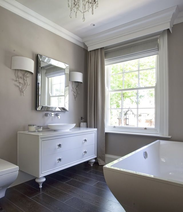 White and Taupe Bathrooms, Transitional, bathroom, Hayburn and Co