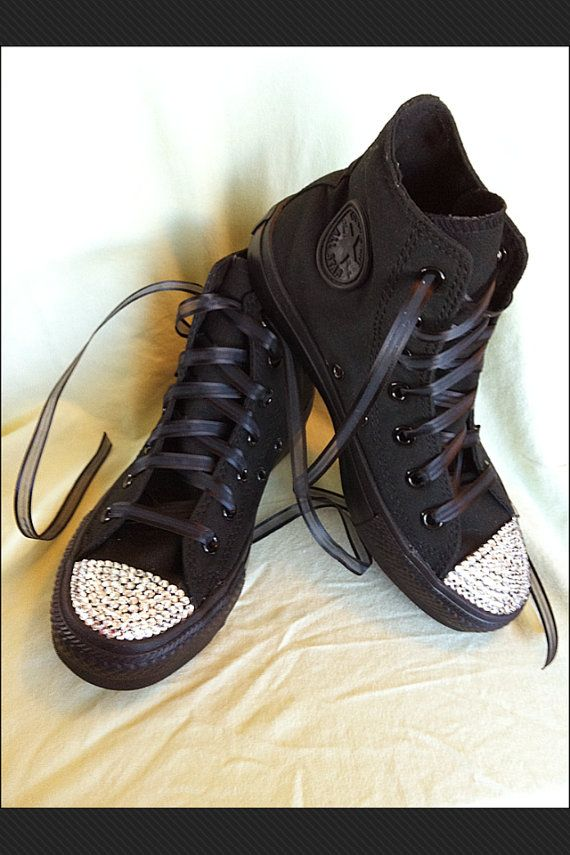 Adult Size All Black Silver Bling Converse By Munchkenz On Etsy