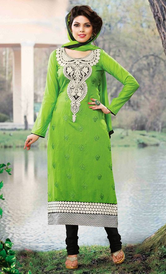 USD 26.17 Green Cotton Churidar Suit 51697
