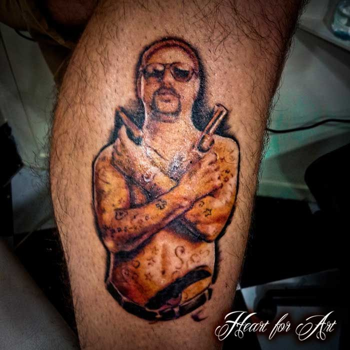 "Mark ""Chopper"" Read Portrait Tattoo by Guest Tattoo Artist    We are going to be having an awesome guest artist in every Monday and Thursday from now on. Check our Facebook for some of her work and Email us at info@heartforart.co.uk if you'd like an appointment."