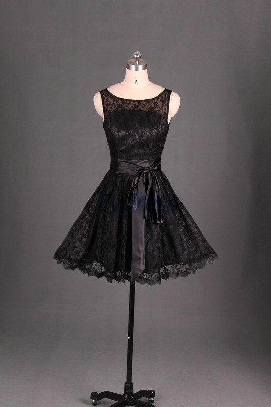 Short Lace Bridesmaid Dress In Black Cute Women Gowns For