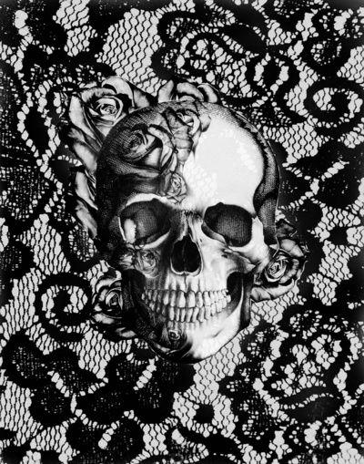 lace, lace skull, rockabilly, rose skull, skull, skull art, skull illustration…