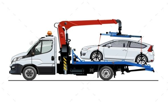 Vector Tow Truck Template Isolated On White Tow Truck Trucks