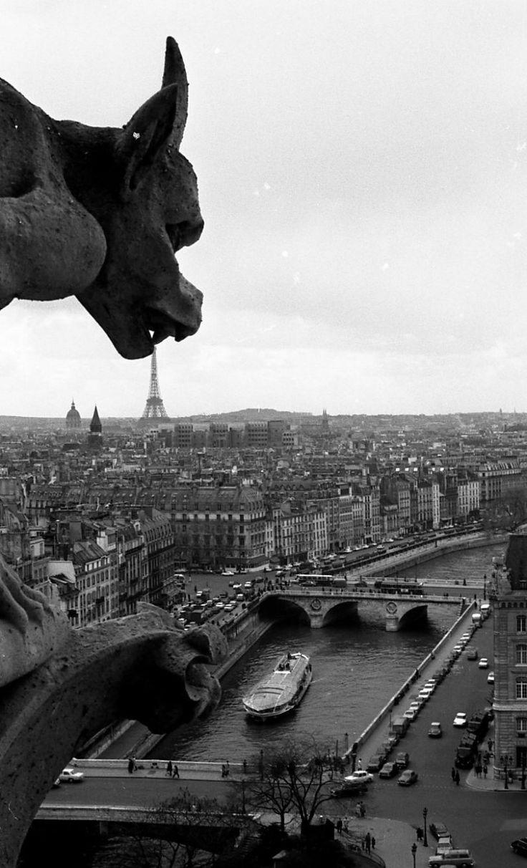 Robert Doisneau  //  Eiffel Tower  -  La gargouille de Notre Dame Avril 1969