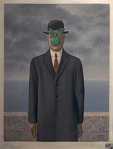 """Magritte says: """"At least it hides the face partly. Well, so you have the apparent face, the apple, hiding the visible but hidden, the face of the person. It's something that happens constantly...This interest can take the form of a quite intense feeling, a sort of conflict, one might say, between the visible that is hidden and the visible that is present"""""""