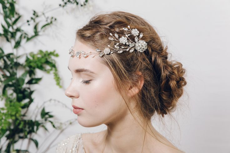 Bohemian crystal and pearl wedding browband