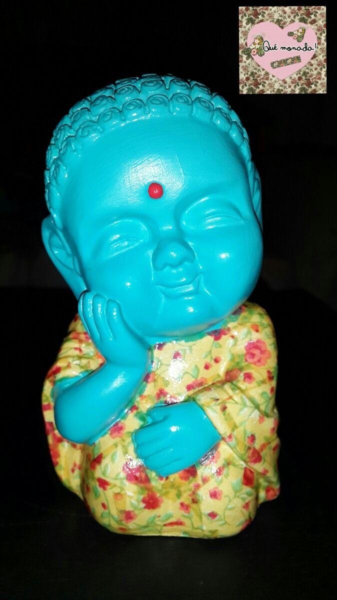 Buda De Yeso Pintado A Mano Con Decoupage Para Decoración - $ 150,00 en MercadoLibre