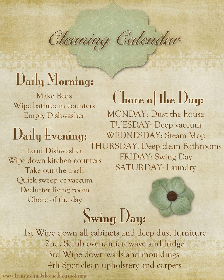 Printing this....cleaning list- such a great way to keep your home tidy and not feel over whelmed during the week.