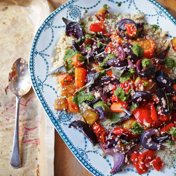 Quinoa Roasted Vegetables with Brazil Nut Pesto, from The Art Of Eating Well.