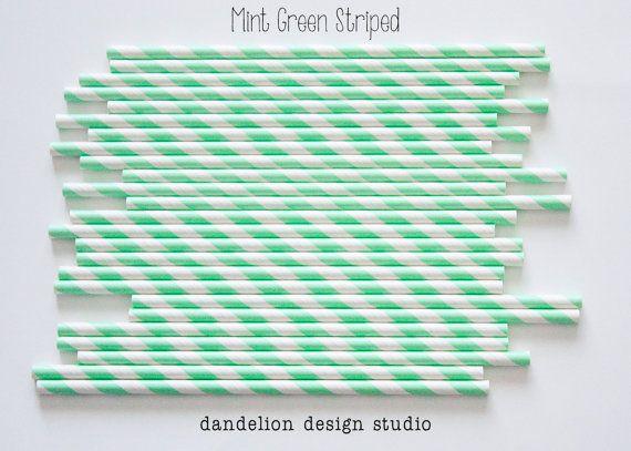 On Sale!!!!    MINT GREEN Striped Paper Straws - Pack of 25 - Dandelion Design Studio