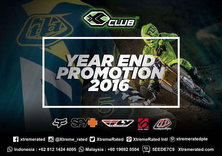 2016 Year End Promotion BUY 1 GET 1 FREE promo and discount items up to 50% OFF! Available now in all XCLUB leading stores Be there! #xtremerated #xclub #promotion #discount #adventure #extremesports #troyleedesigns #flyracing #fiveten #spyracing #foxracing