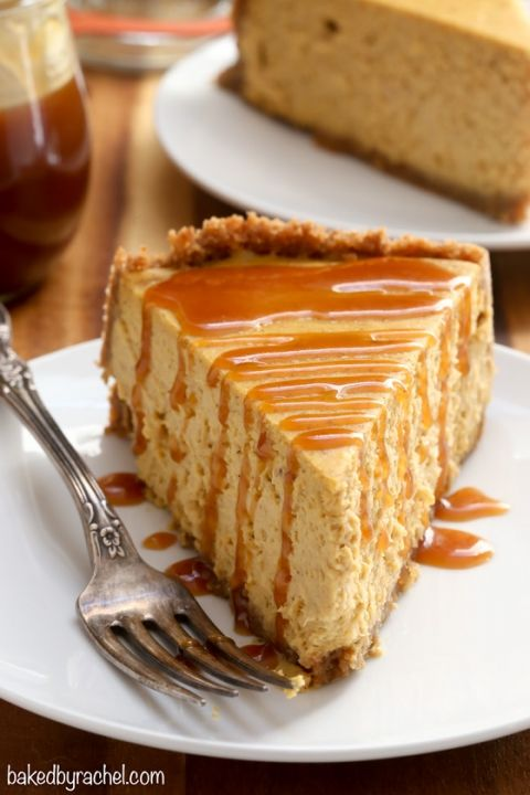 Spiced pumpkin cheesecake with homemade caramel sauce recipe from @ ...