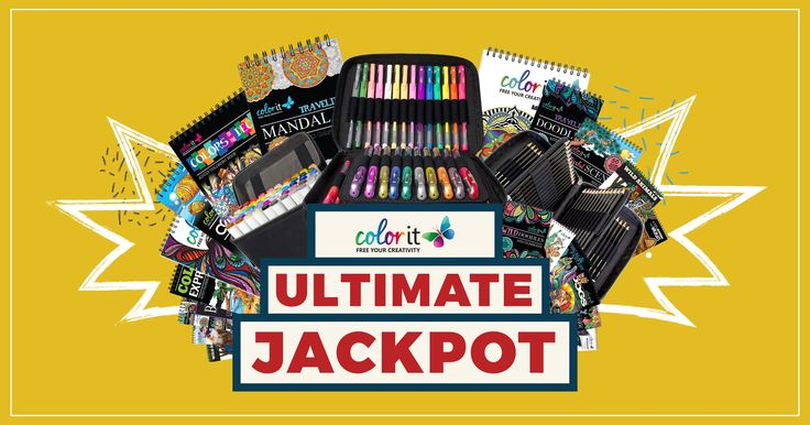 Win the ultimate ColorIt Jackpot: 72 pencils, 50 markers, 48 gel pens, and all our coloring books!