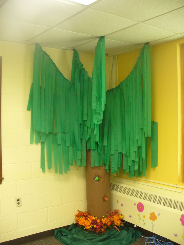 Classroom Decoration Hangings ~ Classroom tree with green streamers chicka boom