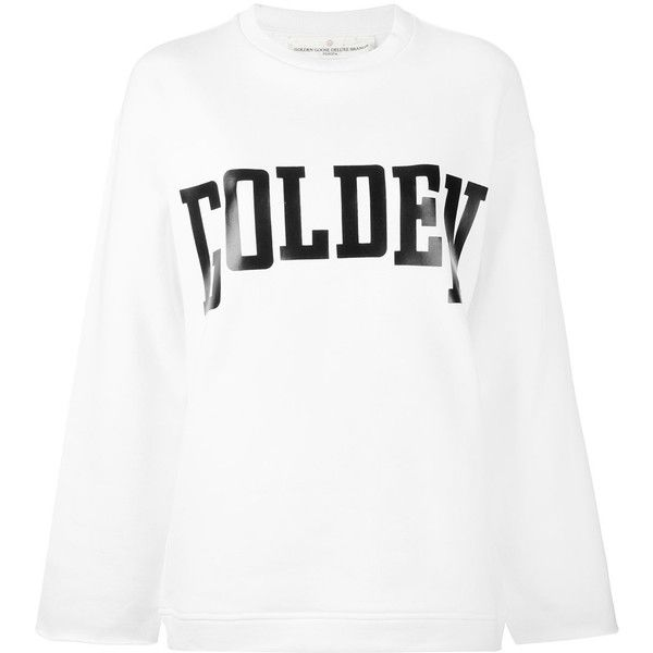 Golden Goose Deluxe Brand raw cut sweatshirt ($252) ❤ liked on Polyvore featuring tops, hoodies, sweatshirts, white, crew-neck sweatshirts, logo sweatshirts, cotton crew neck sweatshirt, white crewneck sweatshirt and white cotton sweatshirt