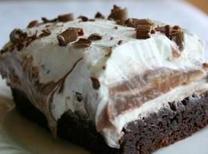 This dessert is SUPER easy, and SUPER SUPER yummy! Very chocolatey..if you let it sit overnight, the flavors meld together and it almost tastes like a brownie sundae :)