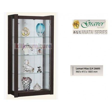 Harga LH 2669 Graver Anata Condition:  New product  Lemari Hias / Pajangan ANATA Series Graver  bahan particle board ukuran 960 x 415 x 1805 mm