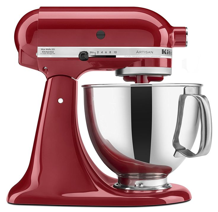 KitchenAid KSM150PSER Artisan Tilt-Head Stand Mixer. No kitchen is complete without a KitchenAid! It can easily turn the novice cook into the gourmet cook with all the available attachments! Cherry Red KitchenAid color is striking!
