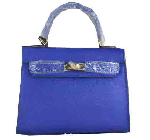 Hermes Kelly 22cm Tote Bag Calfskin Leather Blue - $259.00