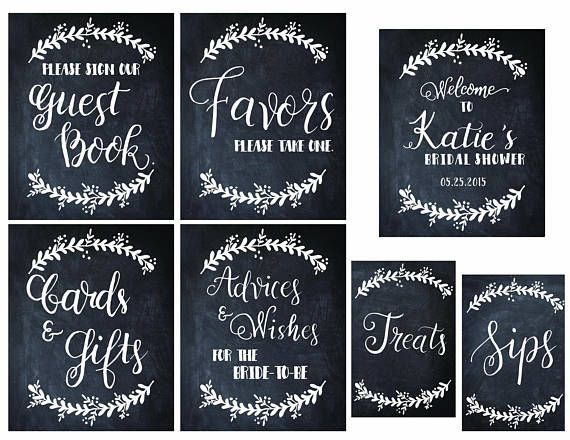 Custom Bridal Shower signs Hand lettered Chalkboard printable