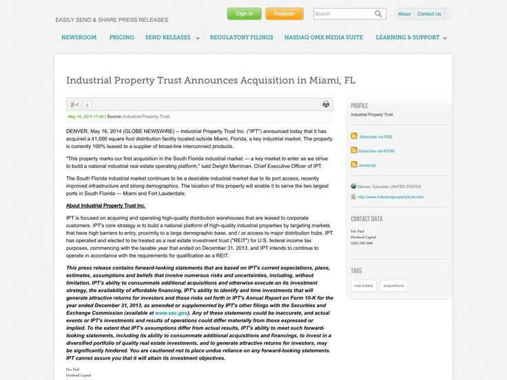 Industrial Property Trust Announces Acquisition in Miami, FL