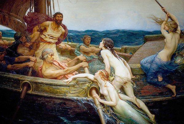 """Герберт Джеймс Дрейпер   """"Одиссей и сирены"""", 1909fa"""