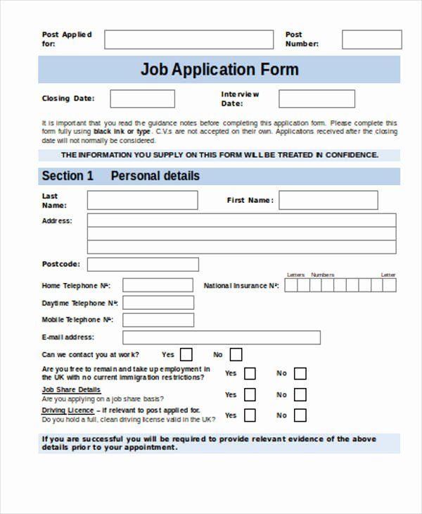 30 Job Application Form Sample In 2020 Job Application Form Job