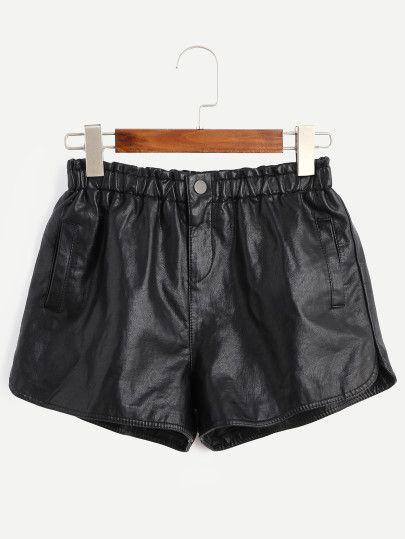 Pantalones cortos de cuero sintético y cintura elástica-Sheinside